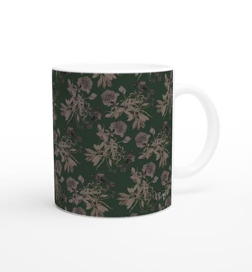 Keramiktasse, Pfingstrosen pattern, dunkelgrün