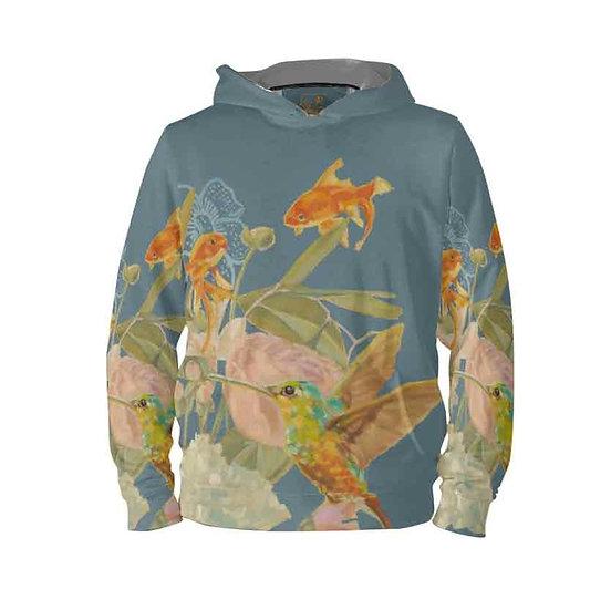 Hoodie-Pullover, Kolibri und Fische, petrol, unisex