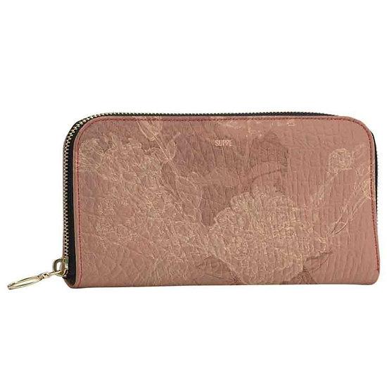 Wallet with zip, rose
