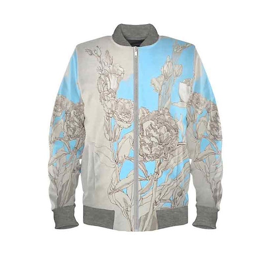 Damen Bomber-Jacke, Blumen Graphite/blau, Duchesse Satin, beige