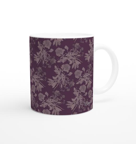Keramiktasse, Pfingstrosen pattern, Aubergine