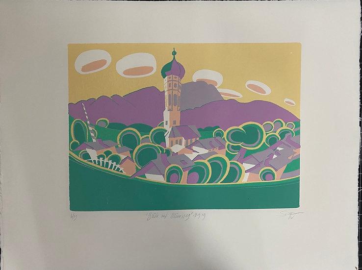 Linolschnitt Münsing, 50x65cm, 6 Farbdruck, limitiert