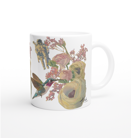 Keramiktasse Kolibri und Astronaut
