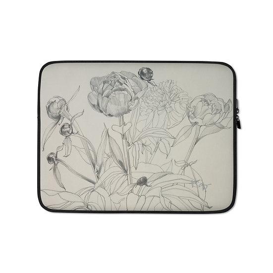 Laptop-Tasche, Blumenzeichnung, Graphite 1