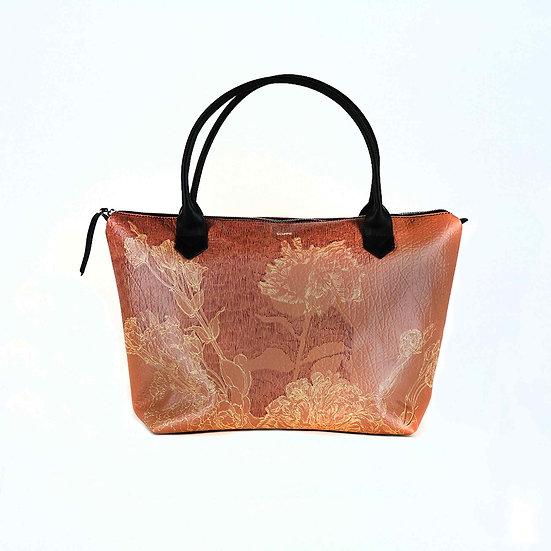 Handtasche, Pingstrosen, echtes strukturiertes Leder