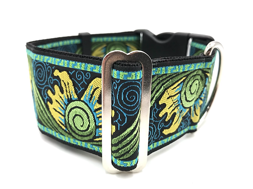 """Sunburst"" Navy 2"" Wide Regular Buckle or Half Check Martingale"