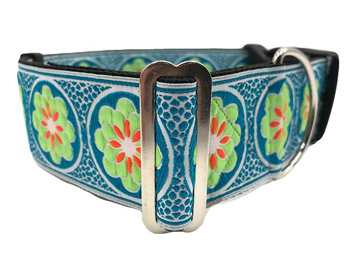 """Wild Flower in Green"" 2"" Wide Regular Buckle or Half Check Martingale"