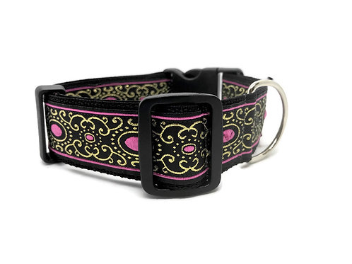 """Liquid Silver Pink"" - 1 1/2"" Wide Dog Collar 