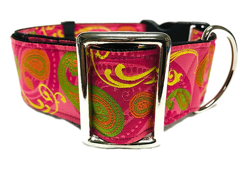 """Pink Swirl""  2"" Wide Regular Buckle or Half Check Martingale"
