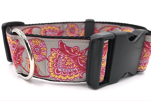 """""""Lillies"""" 1 1/2"""" Wide Dog Collar  Martingale or Buckle Dog Collar"""