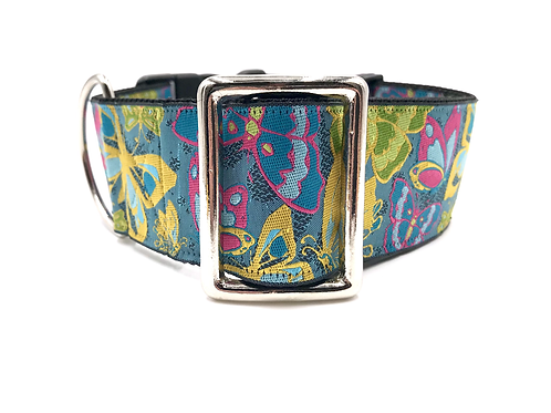 """Butterflies are Free"" 2""  Regular Buckle or Half Check Martingale Dog Collar"