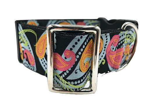 """""""Swirling Paisley"""" 2"""" Wide Regular Buckle or Half Check Martingale Collar"""