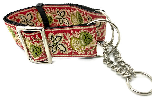 """Red Berries & Cream""  2""  Wide Regular Buckle or Half Check Martingale Collar"