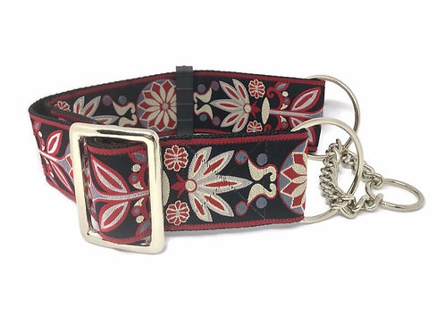 """Gamecocks"" 2""  Wide Regular Buckle or Half Check Martingale Dog Collar"