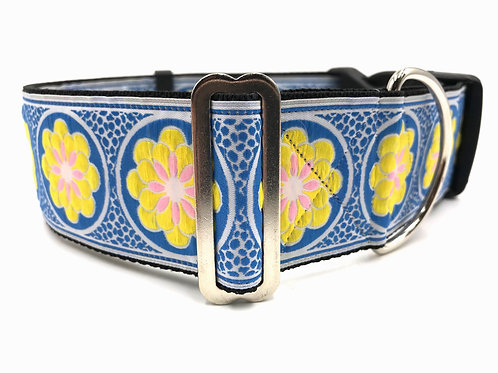 """Wild Flower in Yellow"" 2"" Wide Regular Buckle or Half Check Martingale"
