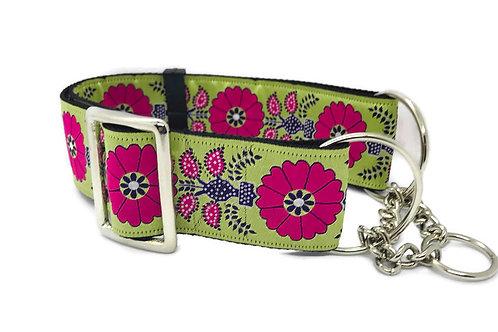 """Pink Poppies"" | 2""  Regular Buckle or Half Choke Martingale Dog Collar"