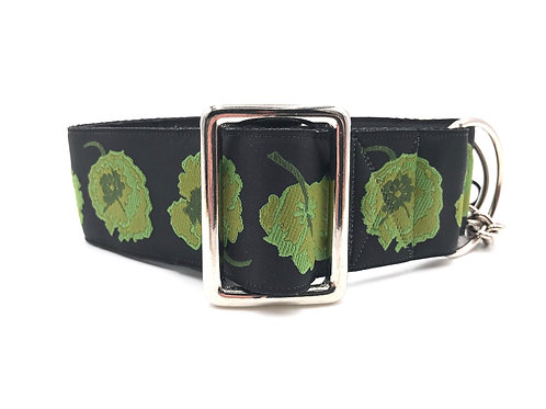 """Poppies on Black"" 2 inch wid  Regular Buckle or Half Check Martingale Dog Coll"