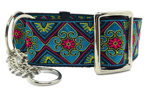 """""""Stained Glass"""" 2""""  Regular Buckle or Half Check Martingale Dog Collar"""