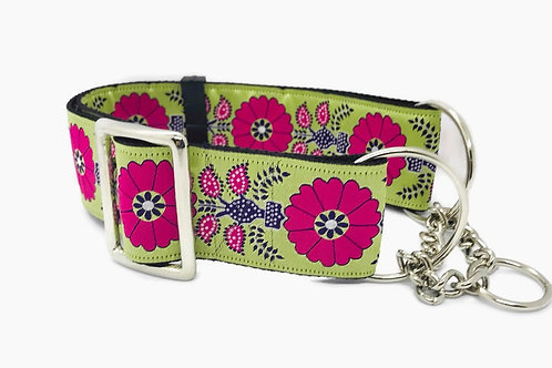 """Pink Poppies"" 2""  Wide Regular Buckle or Half Check Martingale Dog Collar"
