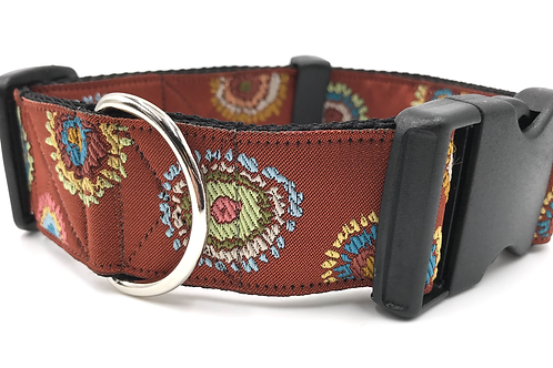 """""""Aztec"""" 1 1/2"""" Wide Dog Collar  Martingale or Buckle Dog Collar"""