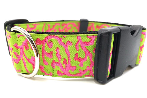 """""""Summertime"""" 1 1/2"""" Wide Dog Collar Martingale or Buckle Dog Collar"""