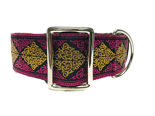 """Pink Sparkler"" 2"" Wide Regular Buckle or Half Choke Martingale D"