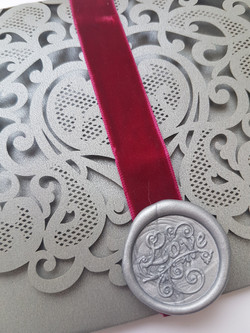Silver and Burgundy Wax Seal