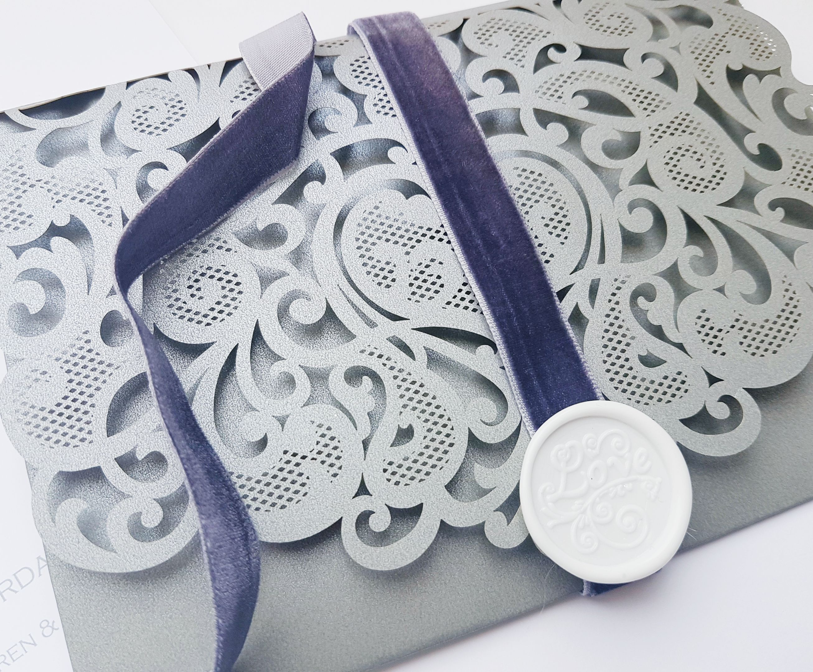 Grey Velvet Ribbon With White Wax Seal
