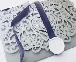 Grey Velvet Ribbon With White Wax Seal