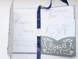 silver and grey invitation