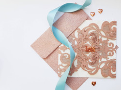 Rose Gold And Teal Wedding Stationery