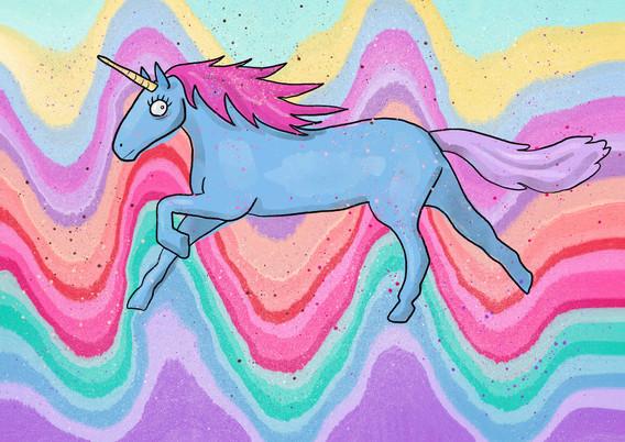 Galloping Rainbow Unicorn Illustration