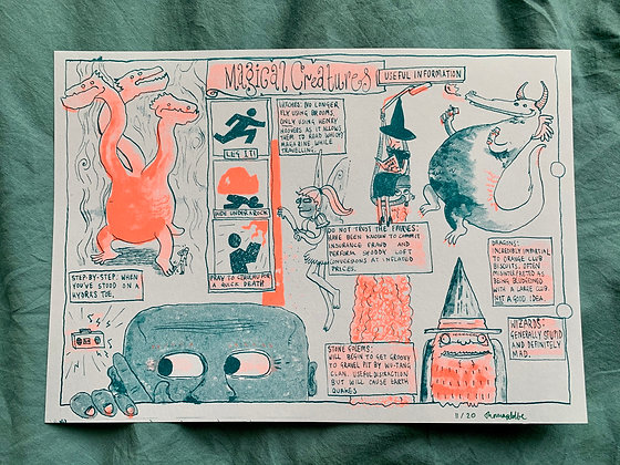 Magical Creatures: Useful Information - A4 Ltd Ed Riso Print