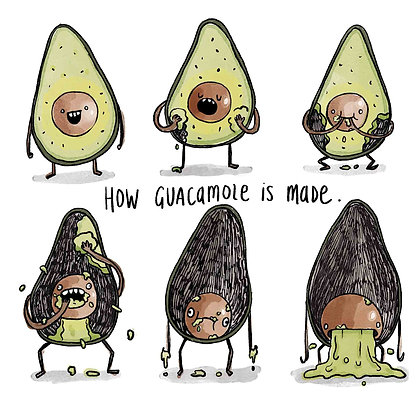 How Guacamole Is Made (probably) - Print