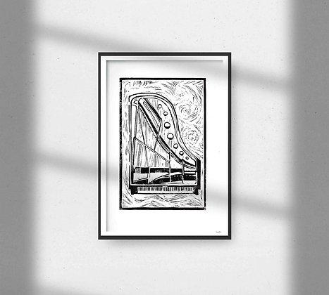 Bosendorfer Grand Piano Lino Print