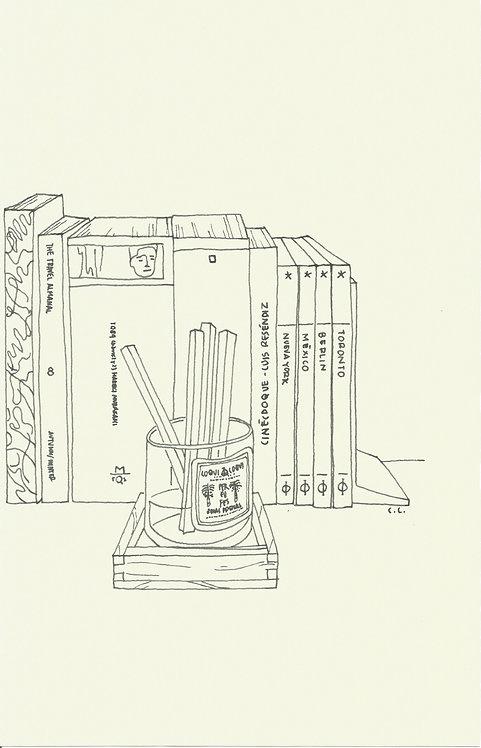 LIBROS Y ROSAS dibujado con pluma fuente Sheaffer