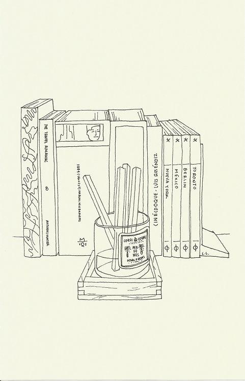 LIBROS Y ROSAS dibujado con estilógrafo Pitt S