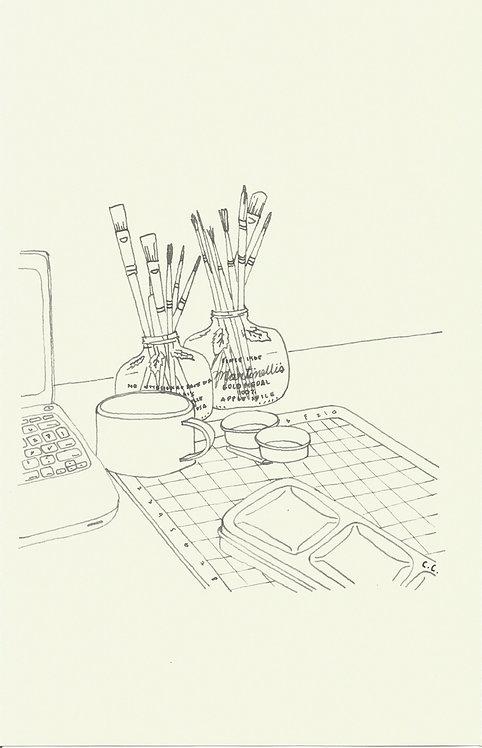 ESCRITORIO dibujado con pluma fuente Inoxcrom
