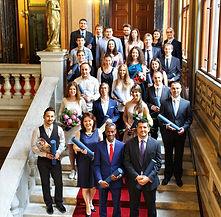 Graduation ceremony stairs, economics phd