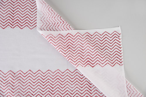 Red Chevron Stripe Sheers