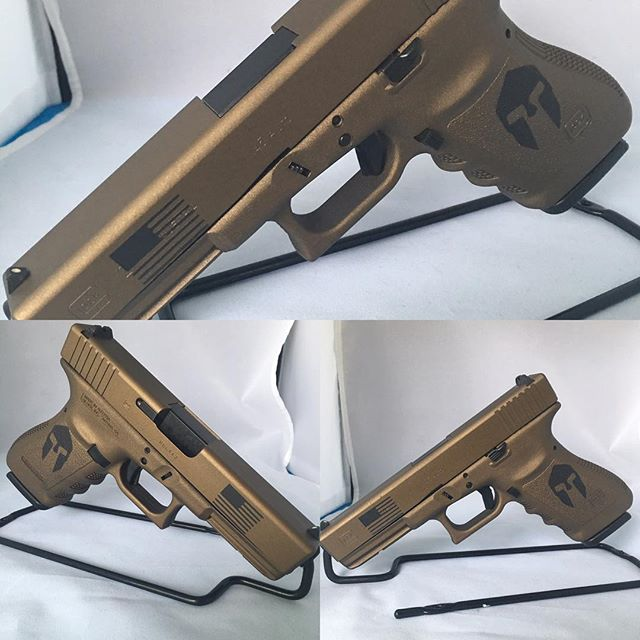 Pre-owned Glock 21 professionally Cerakoted in Burnt Bronze with American flag and Spartan Stenciled