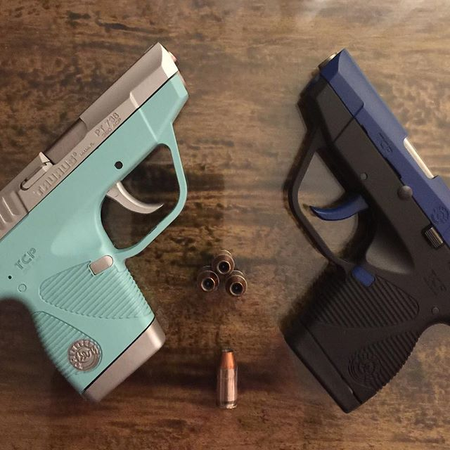 Hers and his #taurusfirearms .jpg380.jpg #Duracoat Audrey Blue, Silverstreak, and Brooklyn Blue