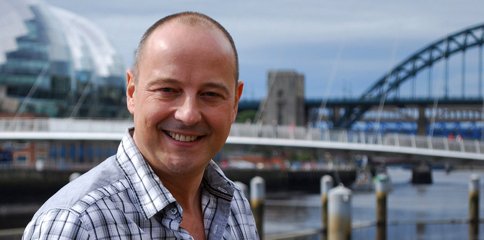 Picture of former BBC presenter Chris Jackson on Newcastle Quayside