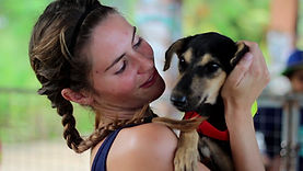 Janey Lowes holding one of the streetdogs