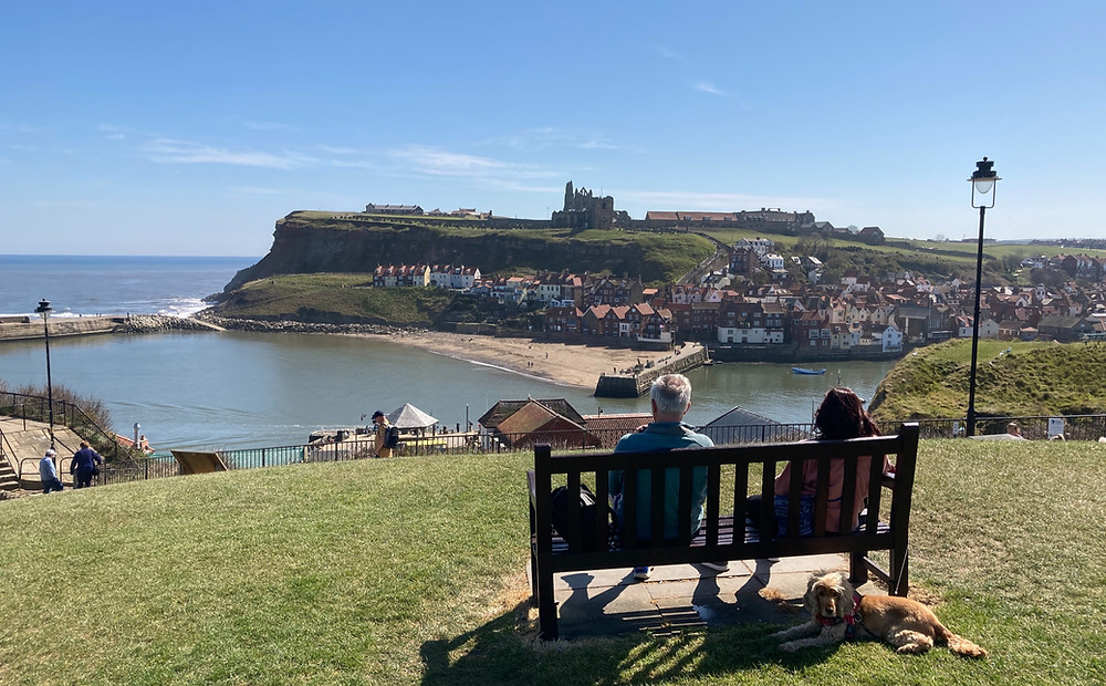 Tourists on park bench looking out over Whitby Abbey