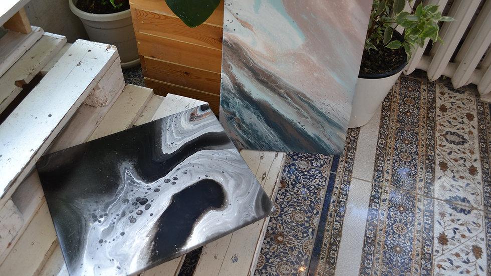 """Картина в технике Fluid Art """"Закат на море»"""