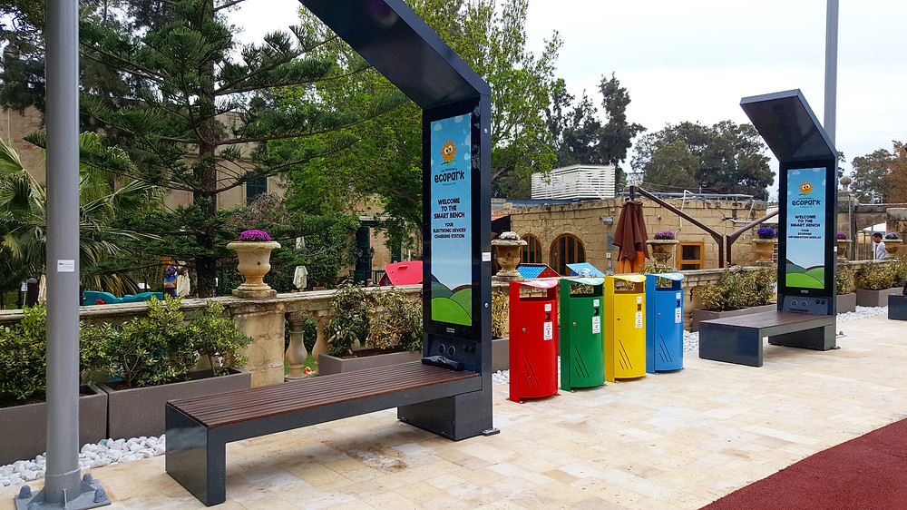smart solar powered benches