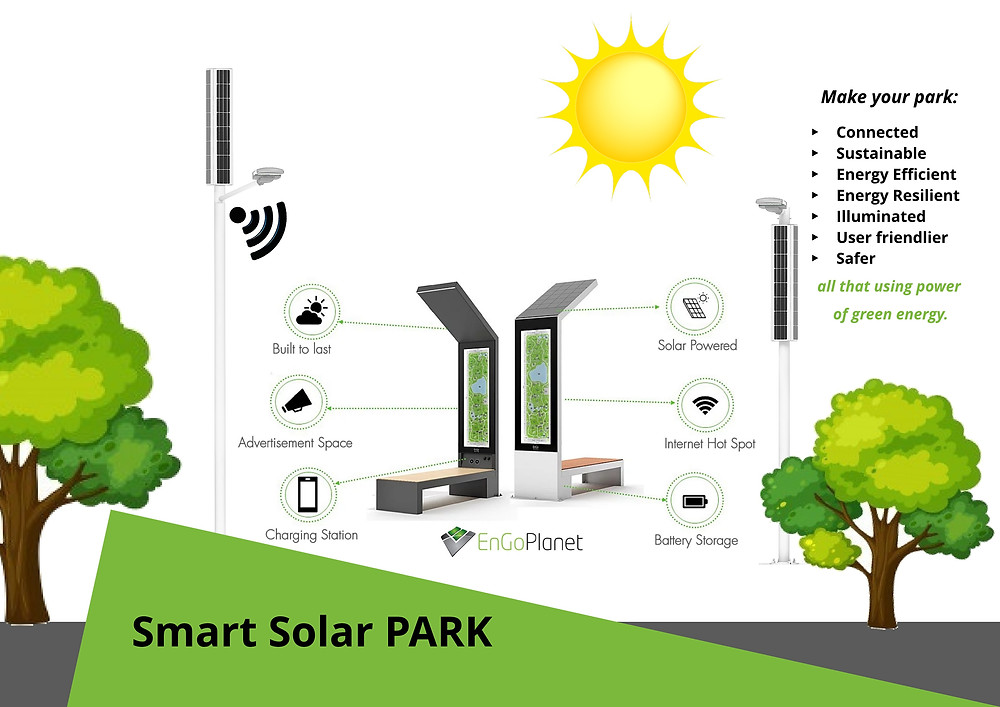 smart solar park solar benches solar streetlights