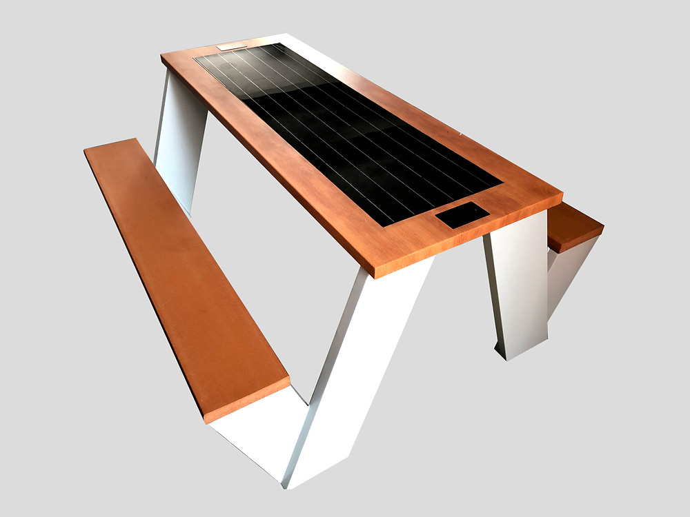 smart solar powered table for parks