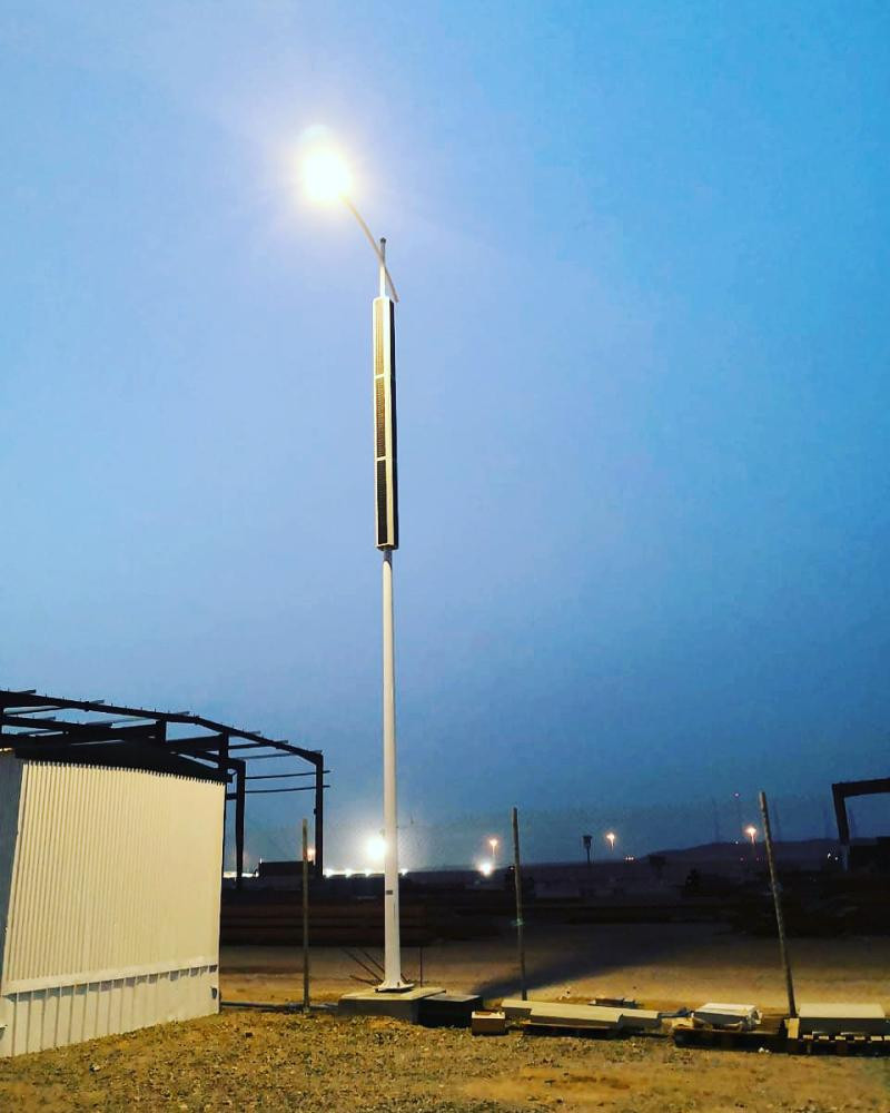 vertical solar powered streetlighting pole